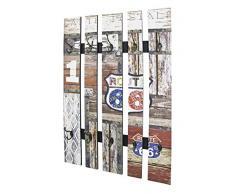 HAKU Möbel 32850 Wandgarderobe, Stahl, vintage, 9 x 65 x 100 cm