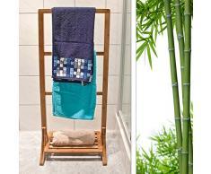 Relaxdays Handtuchhalter Bambus mit 3 Handtuchstangen und großer Ablage HBT 105 x 40 x 27 cm Handtuchständer als freistehender Handtuchtrockner mit Regalboden auch als Herrendiener geeignet, natur