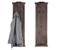 2x Garderobe Wandgarderobe Garderobenpaneel Wandhaken 109x28x3,5cm, Shabby-Look, Vintage ~ braun