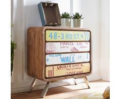 Wohnling Sideboard AIKA 85x88x38 cm Landhaus-Stil Sheesham Massivholz/Metall | Design Kommode Holz Bunt | Dielenkommode Standschrank Klein | Anrichte Schlafzimmer Massiv | Schubladenkommode Flur