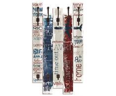 Artland Wandgarderobe Holz Design mit 8 Haken Garderobe Paneel mit Motiv 63x114 cm Shabby Chic Landhaus Schriftzug Zitat Kunst Reisen Bunt T9PC