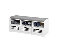SoBuy® Schuhtruhe, Sitzbank mit 3 Körben und Ablagen, Sitzkommode mit Sitzkissen, weiß, FSR36-W