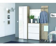 Demeyere 12656 Garderobe-Set 4-teiligen mit Schuhschrank mit Spiegel Berlin, sonoma-eiche mit struktur und glänzend weiß