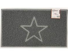 Nicoman Spaghettimatten Fußmatte für den Eingangsbereich|Robuste Schmutzfangmatte aus Vinylschlingen | Geprägt Star【75x44cm, Mittel,Aussen】,Grau