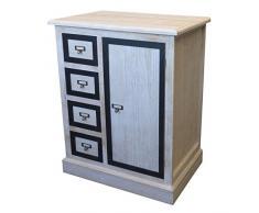 Holz Kommode mit 4 Schubladen Schubladenschrank Nachtschrank MDF Natur Holzschrank 76x60x40cm Dekorative Aufbewahrung Badschrank Badezimmerschrank Flurschrank Dielenkommode