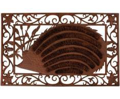 Fußmatte Türmatte Fußabtreter, Fußrost, Fussmatte, Türmatte, Igel, mit Kokosspiralen, Gußeisen, ca. 72 x 45 cm
