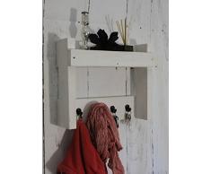 dekorie67 Schlüsselregal Holz Landhaus Garderobe Flurgarderobe Regal Wandgarderobe Weiß