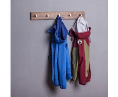 Woods Hakenleiste Garderobe Holz massiv I Garderobenleiste Landhaus I moderne Wandgarderobe aus Holz handgefertigt in Bayern I Handtuchhalter I Garderobenpaneel Nussbaum o. Eiche verschiedene Längen