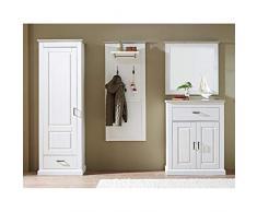 Garderobenmöbel Set im Landhaus Look Pinie hell Taupe mit Dielenschrank, Schuhschrank, Garderobenpaneel und Spiegel