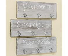 Bloominghome Wandgarderobe mit 3 Haken Wellenreiter Vintage grau
