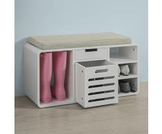 SoBuy® FSR54-W Schuhbank mit Sitzkissen Schuhtruhe mit Einem Korb und Einer Schublade Sitzbank weiß, BHT ca.: 80x46x30cm