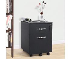SONGMICS Abschließbar Rollcontainer Büroschrank mit 2 Schubladen 5 Rollen unten schreibtisch Büromöbel schwarz 44 x 40 x 54,5 cm LCD22B