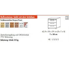 Bümö® Rollcontainer mit 3 Schüben & Schloss   Bürocontainer aus Holz   Tischcontainer mit Rollen   in 6 Dekoren (Buche)