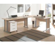 Arbeitszimmer komplett Büromöbel Komplettset in Eiche Sonoma / Weiß mit großem Schreibtisch / Winkelschreibtisch