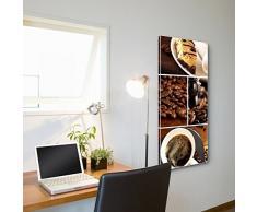 banjado - Magnettafel silber Pinnwand 37x78cm Memoboard Whiteboard mit Motiv Kaffee&Schokolade