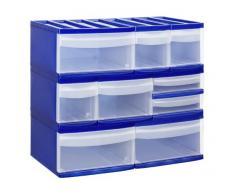 Rotho Schubladenbox mit 2 Schüben Systemix aus Kunststoff (PP), Ablagefach Grösse M-Duo, 39.5x25.5x20.3 cm, blau/transparentes Ablagesystem, DIN A4 Ablagebox für Schreibtisch, Büro - Hergestellt in der Schweiz, 11450LG096
