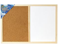 Idena 568016 Pinnwand & Whiteboard mit Holzrahmen, 40 x 60 cm, inkl. 2 Schrauben / Kombi-Set (inkl. 100 Pinnwandnadeln)
