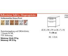 Bümö® Rollcontainer mit 2 Schüben & Schloss   Bürocontainer aus Holz   Tischcontainer mit Hängeregistratur   in 6 Dekoren (Grau)