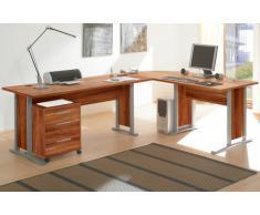 Arbeitszimmer komplett Büromöbel Komplettset mit großem Schreibtisch / Winkelschreibtisch in Walnuss / Nußbaum