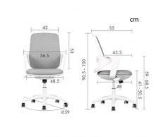 MMAXZ Bürostuhl, Mid Back Office-Computer Swivel Schreibtisch Aufgaben-Stuhl, Ergonomischer Chefsessel mit Armlehnen (Farbe: Grau, Größe: 90,5 * 56,5 * 48cm)