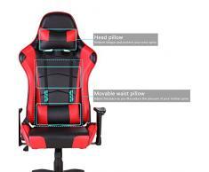 Gaming Stuhl, Racing Hochwertiger Bürostuhl, Ergonomischer höhenverstellbar Schreibtischstuhl Chefsessel Computerstuhl Drehstuhl mit einstellbaren Armlehnen, Kunstleder PU Sportsitz Game Chair (Rot)