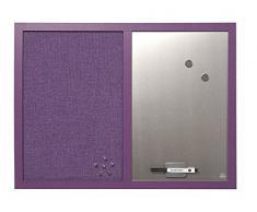 Bi-Office Kombitafel Lavander, Pinnwand und Whiteboard, Violett Textiloberfläche und Silber Magnetisch, Lila MDF Rahmen 22 mm dicker, 60 x 45 cm