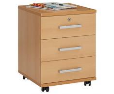 Rollcontainer Bürocontainer Büroschrank VANCOUVER, in buchefarben, abschließbar mit 3 Schubladen, 44 x 55 x 45 cm