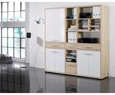 Minioffice MAJA SET + Komplettes Arbeitszimmer - Büromöbel Komplett Set Modell 2016 in Eiche Natur / Weißglas