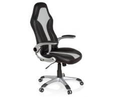 hjh OFFICE 621780 Gaming PC Stuhl RACER 400 Kunstleder schwarz grau, bequeme Polsterung, ideal zum Zocken, Chefsessel, feste Armlehnen, Bürostuhl Sessel, Racing Stuhl, XXL Chefsessel, Gamer Stuhl