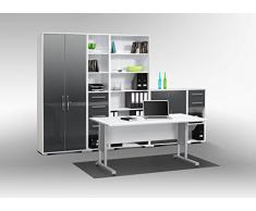 Arbeitszimmer komplett Set MAJA SYSTEM 1200 Büromöbel in Icy weiß / grau Hochglanz - 6teilig