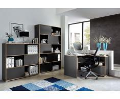 3-tlg. Büromöbel-Set: Eckschreibtisch 120 x 120 cm, Schiebetürenregal H: 196 cm, Schiebetürenregal H: 119 cm, in Anthrazit/Sonoma-Eiche Nachb.