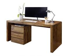 Wohnling Schreibtisch Boha Massiv-Holz Sheesham Computertisch 120 cm breit Echt-Holz Design Ablage Büro-Tisch Landhaus-Stil Natur-Produkt Büro-Möbel dunkelbraun Modern Büroeinrichtung 76 cm hoch