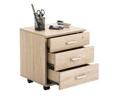 Rollcontainer SATURN Aktenschrank Bürocontainer mit 3 Schubladen in Sonoma Eiche, abschließbar