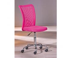 Links 99803154 Schreibtischstuhl für Kinder höhenverstellbar, Metallfuß Mesh PU, 43 x 56 x 88-98 cm, pink