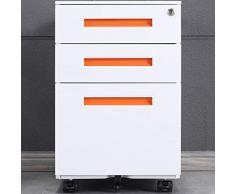 Aktenschränke, Büro-Rollcontainer,Rollcontainer, inkl. 3 Schübe Bürocontainer mit Anti-umkippen-mechanismus für A4, Mobilen, Abschließbar ; 39cm B x 50cm L x 60cm H, JLB021-O