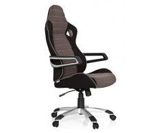 hjh OFFICE 621849 Gaming Stuhl RACER PRO IV Stoffbezug Schwarz/Braun Schalensitz Chefsessel mit hoher Rückenlehne