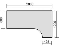 PC-Schreibtisch rechts höhenverstellbar, C Fuß Blende optional, 2000x1200x680-820, Weiß/Silber, Geramöbel