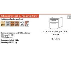 Bümö® Rollcontainer mit 2 Schüben & Schloss   Bürocontainer aus Holz   Tischcontainer mit Hängeregistratur   in 6 Dekoren (Ahorn)