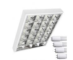 TOP SET LED Rasterleuchten mit 4X T8 LED 9W neutralweiß 4000K G13 Bürolampe Rasterlampe