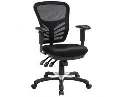 SONGMICS Bürostuhl, Ergonomischer Drehstuhl, Schreibtischstuhl aus Maschenmaterial, Höhenverstellbar Rückenlehne, 3 Einstellhebel, Lendenstütze und Verstellbare Armlehne aus PU, OBN52BK