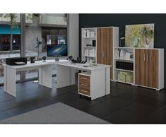 Büromöbel, Arbeitszimmer 8-teilig in Weiss mit Fronten in Nussbaum
