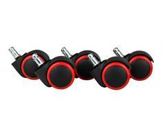 Amstyle leichtgängige Hartbodenrollen, 5er Set, für Bürostuhl 11 mm Stift, Durchmesser 50 mm, rote, Dreh-stuhlrollen