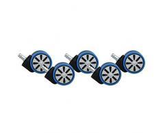 AMSTYLE Hartbodenrollen 5er Set Rollen für Bürostuhl Blau Stift 11mm / Durchmesser 60mm Parkettrollen für Parkett Laminat Linoleum Drehstuhlrollen Stuhlrollen für harte Böden