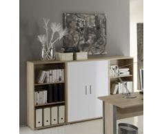 Arbeitszimmer mit Winkelschreibtisch komplett Set Office Line mit Highboard in Eiche Sonoma / Weiss Glanz