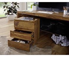 WOHNLING Rollcontainer Sheesham Massivholz Design Schubladenschrank Natur-Holz für Schreibtisch 3 Schubladen Landhaus-Stil Rollwagen Büro 61cm hoch Kommode dunkel-braun Büromöbel Bürocontainer Unikat