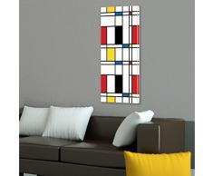 banjado - Magnettafel weiß Pinnwand 37x78cm Memoboard Whiteboard mit Motiv Rot Gelb Blau