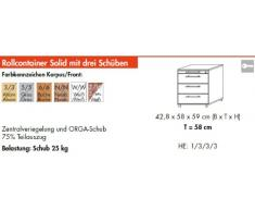 Bümö® Rollcontainer mit 3 Schüben & Schloss   Bürocontainer aus Holz   Tischcontainer mit Rollen   in 6 Dekoren (Grau)