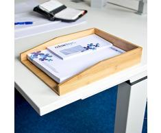 Relaxdays Briefablage aus natürlichem Bambus HxBxT: ca. 6 x 25 x 34 cm Dokumentenablage für A4 geeignet als Papierablage und Schreibtischorganizer für Briefe und Unterlagen Schreibtischablage, natur