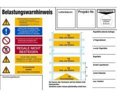 H.Klar Schild Alu Fachbodenregal Belastungswarnhinweis 210x297mm