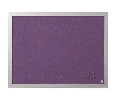 Bi-Office Pinnwand Lavender, Notiztafel mit Violett Textiloberfläche, Perlenfarben MDF Rahmen, 22 mm dicker, 60 x 45 cm